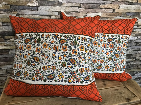 "Set of Orange flowers pillow case good for modern look of your house, eco print cotton bohemian pillow cover 45"" x 45"", floral design"