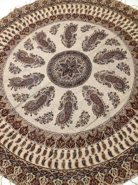 Calico fabric with natural dyes , round tablecloth 70 inches with tassels, bohemian, traditional cloth, middle eastern, hand printed fabric