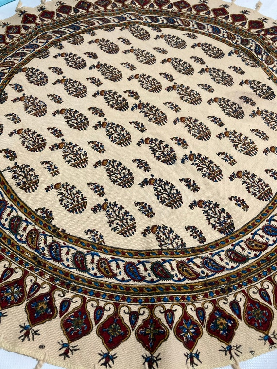 "round tablecloth, 24"" floral table top, natural cotton tablecloth , paisley pattern , table top , traditional tablecloth , qhalamkari"