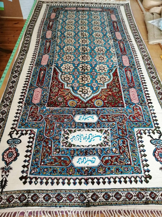 Hand block printed tapestry art, Islamic prayer mat , wall hanging