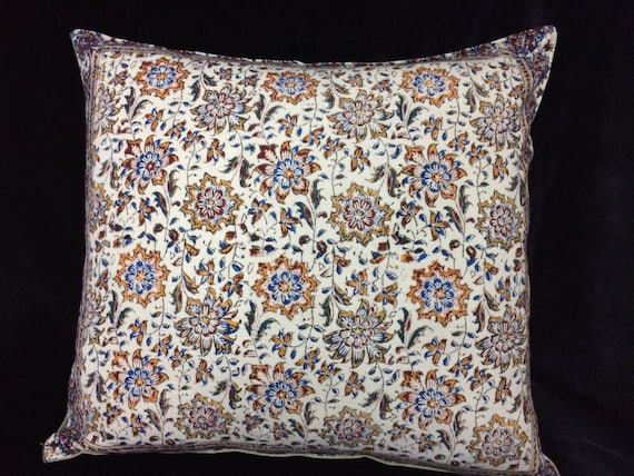 "Decorative pillow cover, floral Cotton and block printed Cushion Cover, 20""x20"""