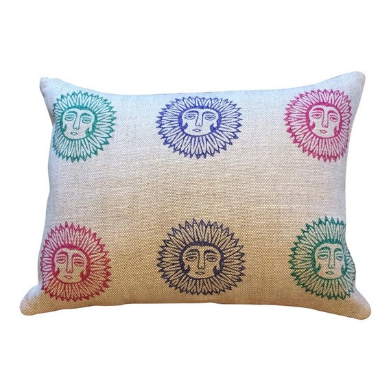 Lady sun linen pillow | Irish linen pillow|block printed decorative cushions| textile stamp pillow case |gift idea|Anniversary