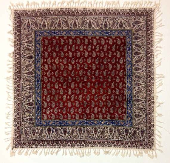 "Handmade 40"" inches red tablecloth in paisley design 