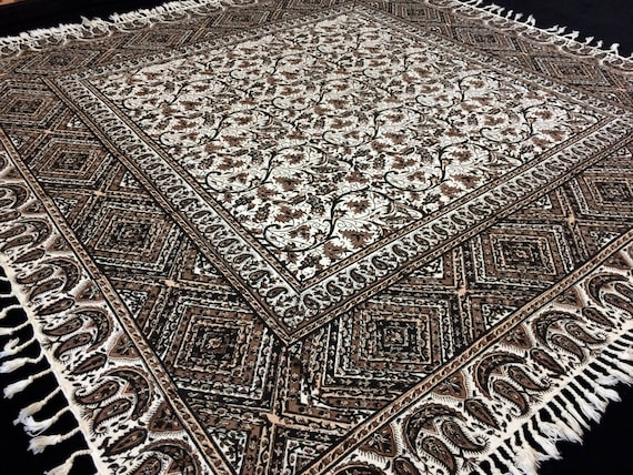 """hand printed 39"""" inches brown square tablecloth, natural dyes tapestry art with tassels, wedding decor on the top"""