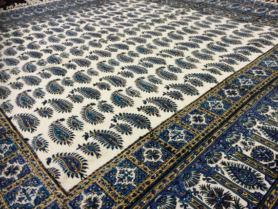 "Calico tablecloth 40"" inches blue paisley tapestry  for table decor , wall decor, yoga cloth, natural  dyes with tassels, square tablecloth"