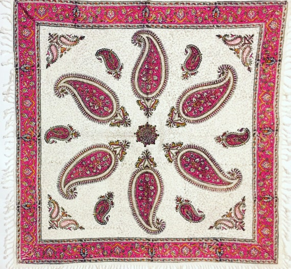 "Handmade paisley pink Tablecloth, traditional block printed tapestry , wall decor, natural textile 30"" inches with tassels"
