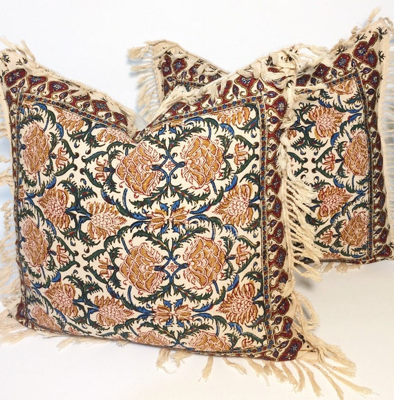 "Set of two block printed tapestry pillows, Handprinted red flowers cushions,cottage style gift for new home, 16"" decorative pillows"