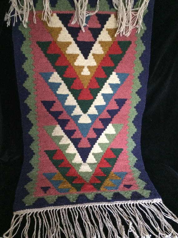 "Hand woven reversible wool kilim rug, 39"" x 23"" geometric traditional kilim , gift for new home , wall hanging , bedroom rug"