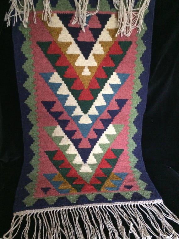 "Hand woven reversible wool kilim rug, 39"" x 23"" geometric traditional kilim , gift for new home , wall hanging , bedroom rug"