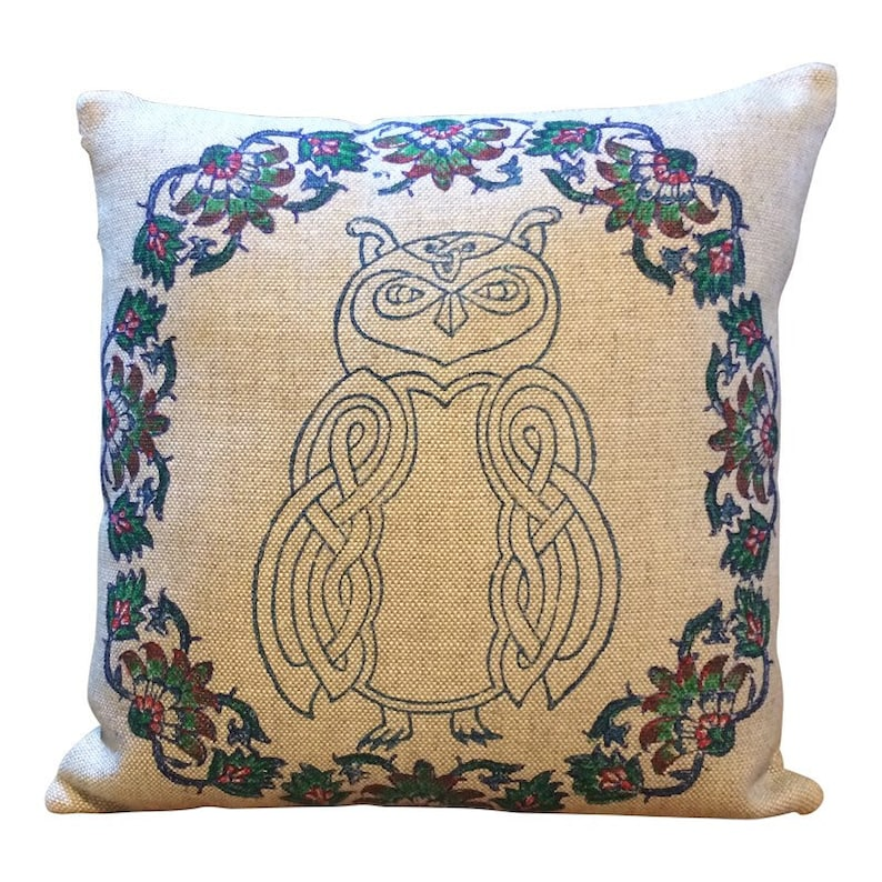 Hand Block printed linen pillow cover with celtic animal image 0