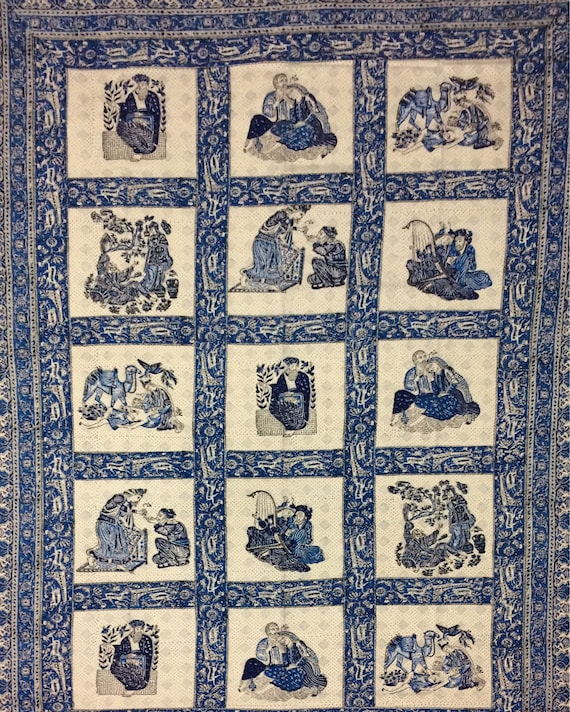 Very unique vintage middle eastern tapestry, traditional block printed textile -natural dyes tablecloth