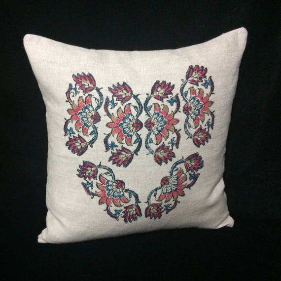 "Handprinted 16"" linen pillow cover with traditional block printed flower design linen pillowcase"