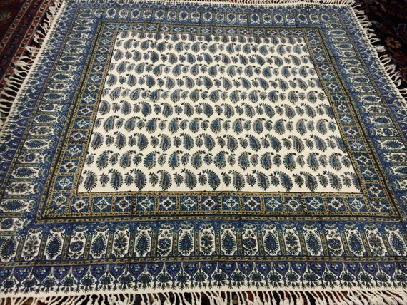 "Calico tablecloth 40"" inches blue paisley tapestry  for wood table , wall decor, yoga cloth, natural dyes with tassels, square tablecloth"