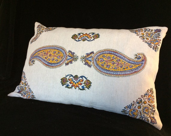 Handmade natural linen pillow, yellow paisley pillow, block printed Irish linen, lumbar pillow case, flower pillow cover, bed pillow