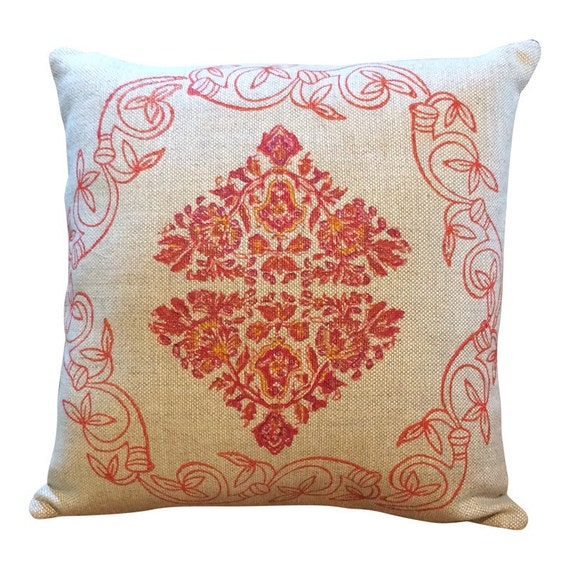 modern red linen pillow cover,  with traditional block printed flower design , decorative cushions, sofa cushion, case dresses, linen pillow