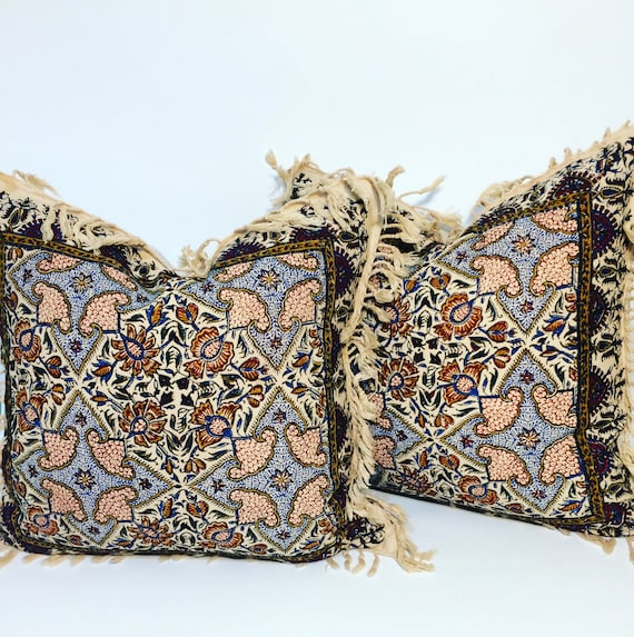 "Set of two block printed tapestry pillows , natural cotton and irish linen fabric, 16"" traditional cushions,Cover With calico printing"