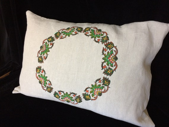 """Hand printed linen pillow, green floral pillow, block printed linen, Irish linen pillow, lumbar pillow 19""""x 28"""", Eco friendly"""