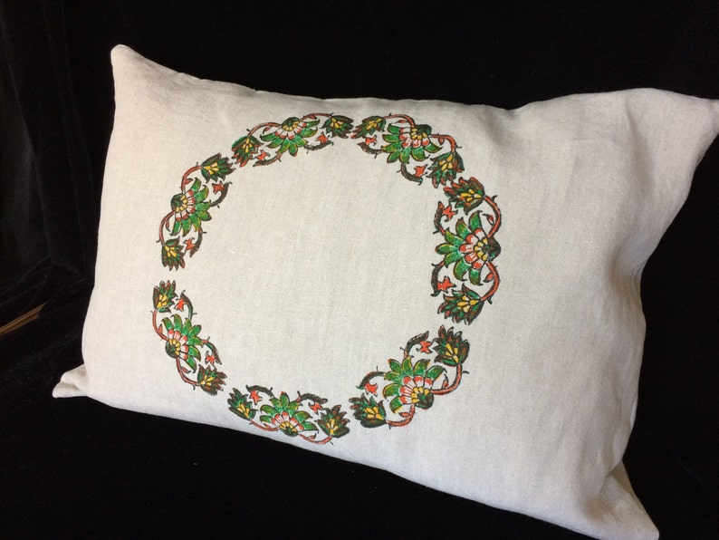 Hand printed linen pillow green floral pillow block printed image 0