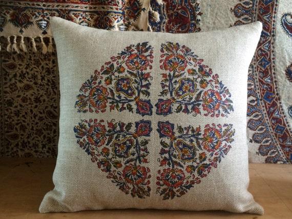 Hand block printed linen pillow   sofa cushion   farm house pillow   linen pillow   modern red pillow   case dresses xmas for her   pillow