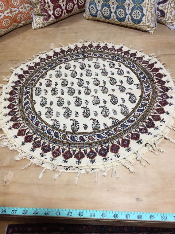 "Hand printed 24"" round tablecloth, traditional paisley table top with natural dyes and tassels"