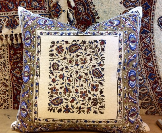Decorative  modern blue pillow , floral design in metallic gold colour , quality handprinted Cushion, Cotton and linen pillow