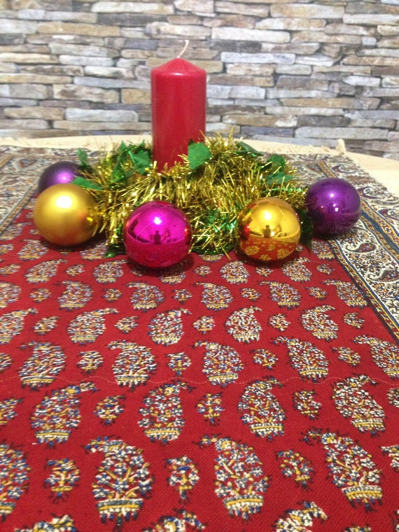 "Red runner tablecloth for the best Christmas decor ever made for you , size 50"" x 24"", 127 cm x 60 cm , 50 inches , tassels , linen , cotton"