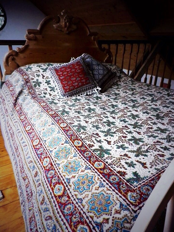 stunning Large king size bedspread-tablecloth, middle eastern Ghalamkari block printed tapestry art, large cover sofa, large tablecoth