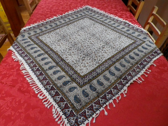 "Square hand printed cotton tablecloth, wall decor, natural dyes 40"" inches with tassels"