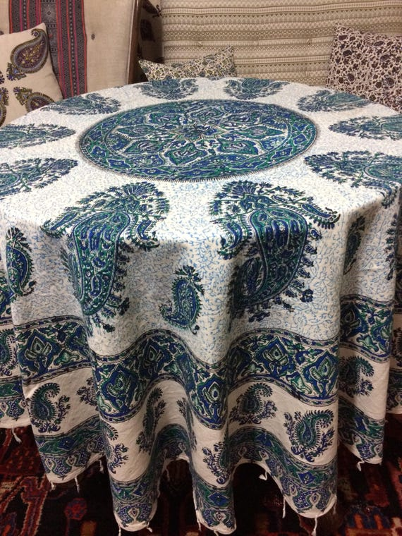 Handcrafted 70 inches Round tablecloth, block printed Calico fabric with Natural dyes, mandala tapestry with tassels