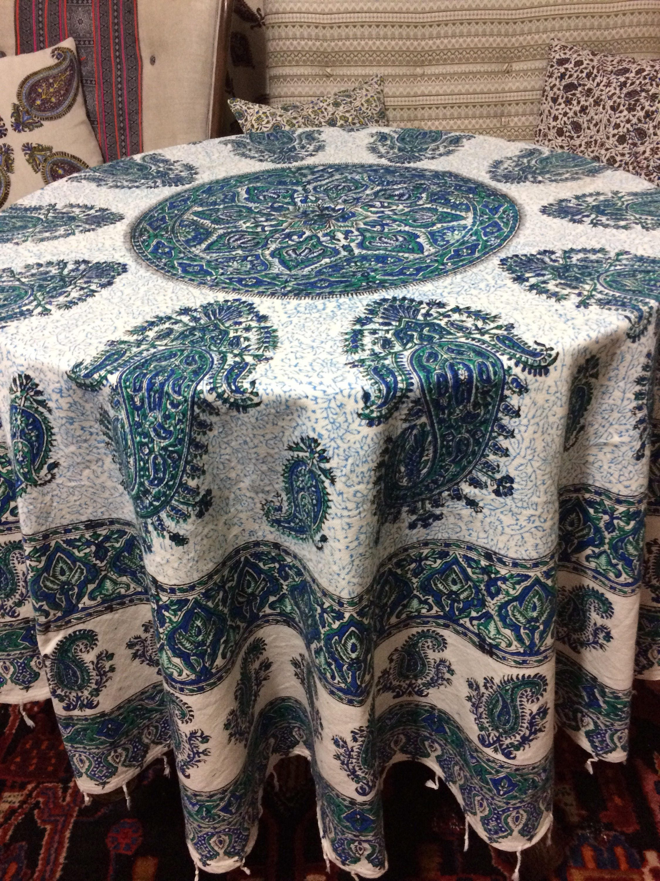 Handcrafted 70 Inches Round Tablecloth Block Printed Calico Fabric With Natural Dyes Mandala Tapestry With Tassels
