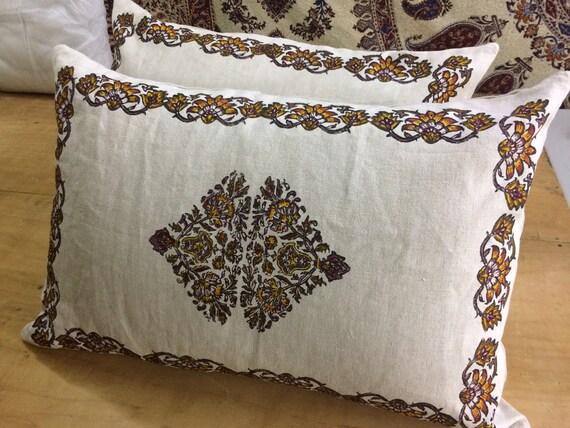 Set of two Handprinted Irish linen pillows , Linen pillows, natural linen bed pillows, block printed linen
