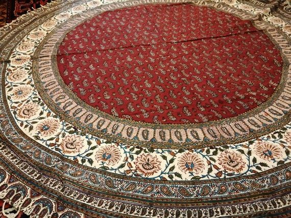 """Calico fabric with Natural dyes, red  round tablecloth 70"""" inches with tassels"""