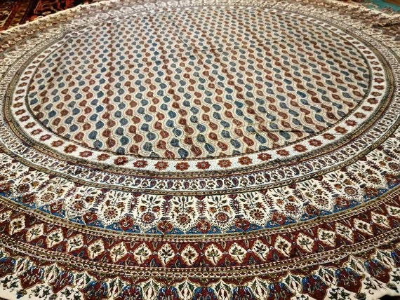 "Calico fabric with Natural dyes,  round tablecloth 70"" inches with tassels"