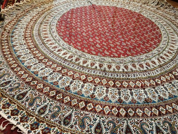"Calico fabric with Natural dyes, red  round tablecloth 82"" inches with tassels"
