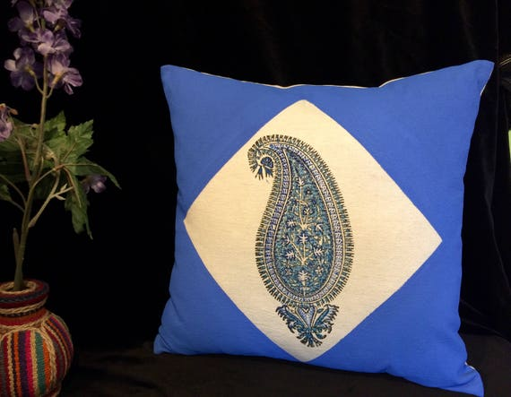 handprinted 17 inches Cotton and linen pillow case, blue paisley decorative cushion, sofa pillow, luxury gift box, family Christmas pyjamas