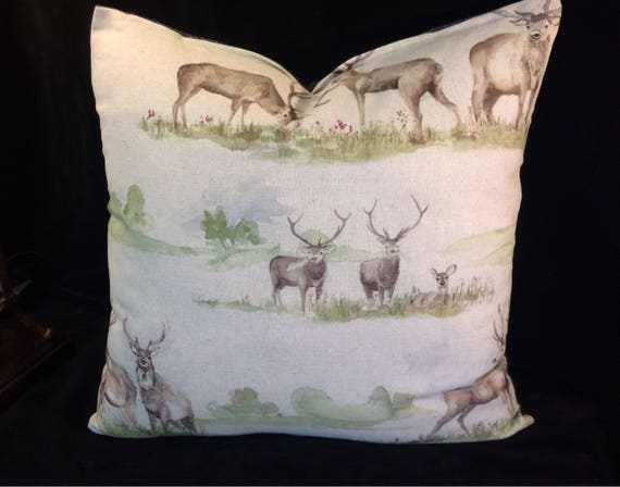 VOYAGE Moorland Stag and Scottish tweed fabrics, cushion cover in Multi Colourway, 18inches decorative pillow, watercolour panited, reindeer