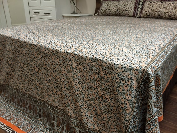 Stunning Large King Size tapestry | handmade orange floral tablecloth | bedspread