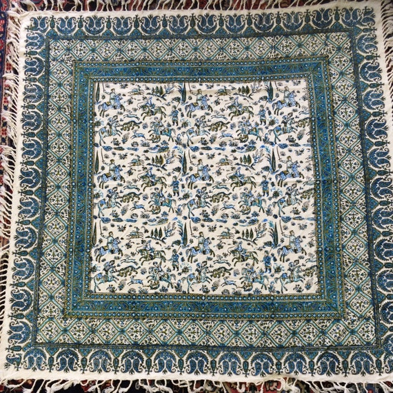 Authentic original tapestry art, hunting scene with horses, the king and deer, block printed tablecloth, hunting scene