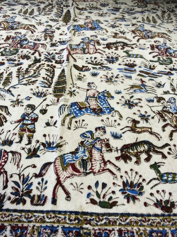 "Very unique Hunting Scene Collectible tapestry art,60"" handprinted calico tablecloth,Reversible, masterpiece art, wall hanging or decoration"