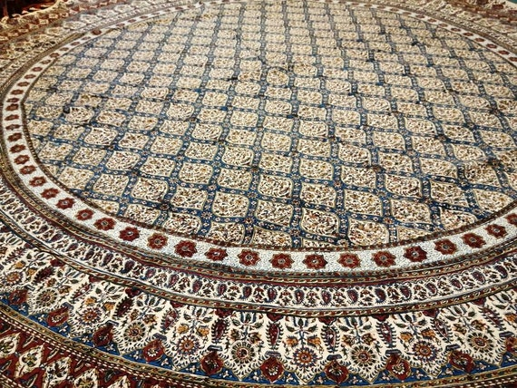 "Calico fabric with Natural dyes  round tablecloth 70"" inches with tassels"