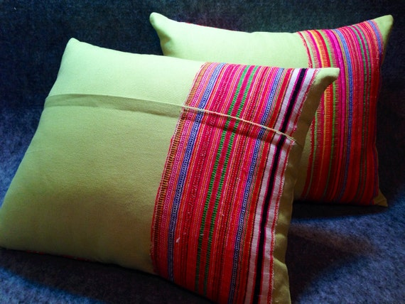Green pillow, Decorative Cushion Cover, Handmade apple green cotton and vintage Hmong textiles