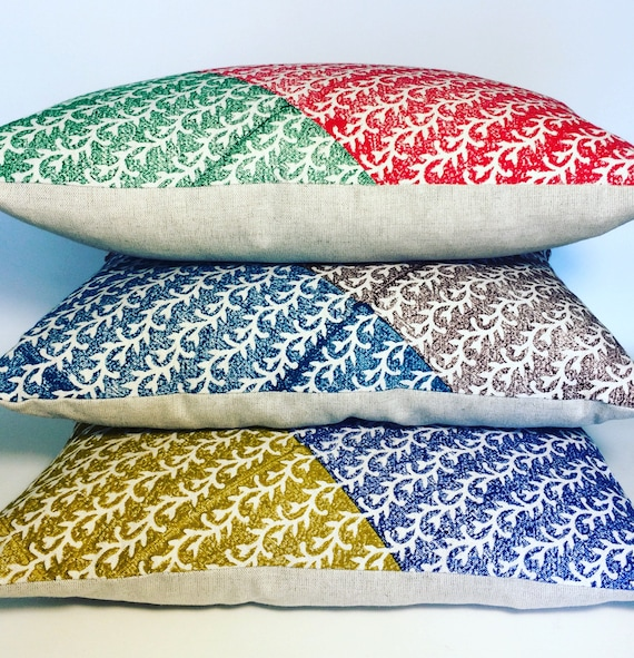 Decorative  modern block printed pillow , traditional design in 3 colours , quality handprinted Cushion, Cotton and linen pillow, pillow