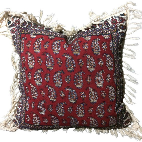 Hand block printed Red paisley Pillow, 16 inches decorative pillows , natural dyes cotton and linen Cushion, textile art