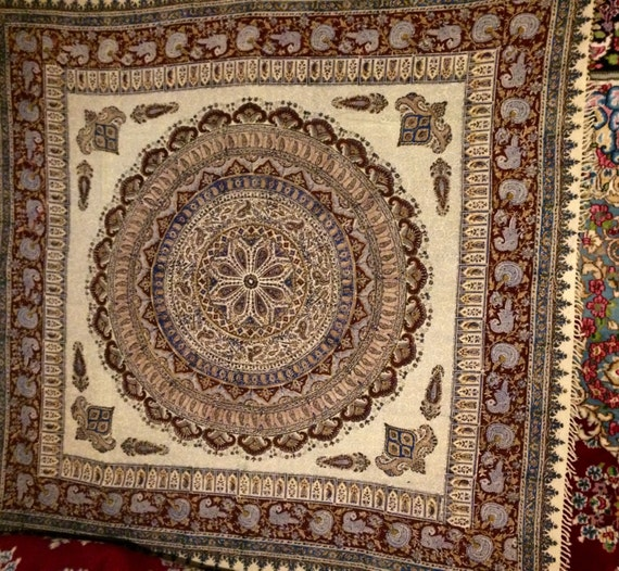 """Stunning Large 80"""" inches tablecloth , block printed mandala tapestry with Natural dyes , square cotton table-cloth with tassels"""