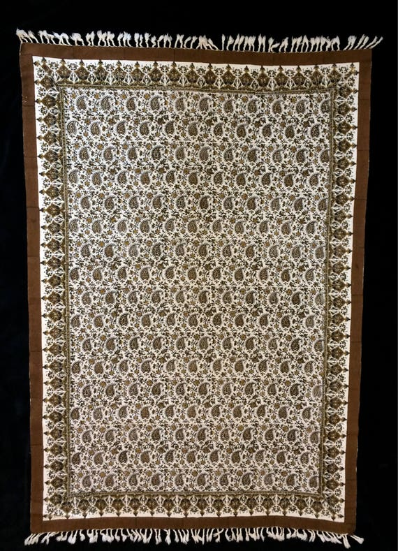 60 x 39 inches Rectangle brown tablecloth, hand printed paisley cotton tapestry art , wall decor, natural dyes with tassels