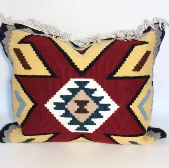 Kilim pillow, mustard and red pillow geometric Cushion Cover, floor pillow, Handmade kilim pillow cover, bohemian decor, gift idea