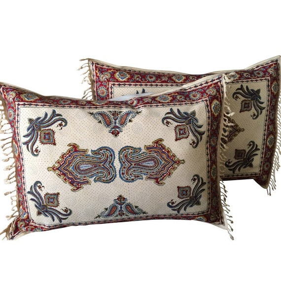 Set off two traditional block printed  pillows | handprinted bed pillows with paisley design 20 x 28 inches