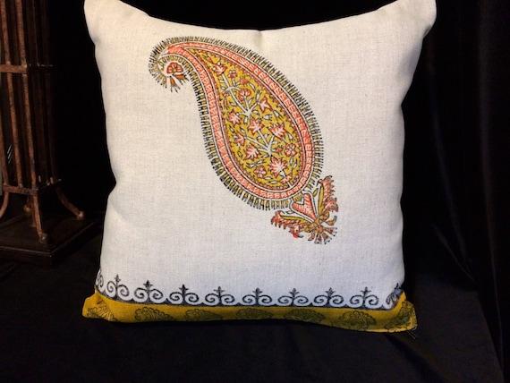"linen pillow block printed paisley design|modern orange  linen pillowcase for home decor|cover 16""x16"" case dresses|luxury christmas bauble"