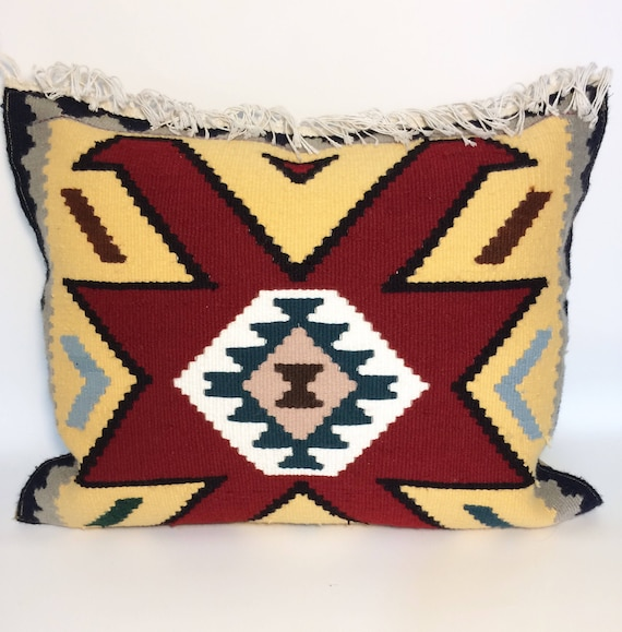 Kilim pillow, mustard and red pillow geometric Cushion Cover, floor pillow, Handmade kilim pillow cover, bohemian decor, gift idea