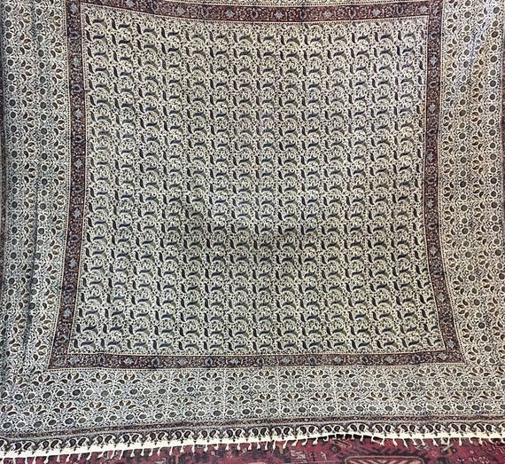 "Stunning extra large 120"" inches square hand block printed tapestry , tablecloth , bedspread , wall decor"
